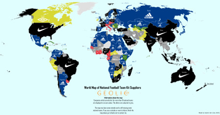 World Map of National Football Team Kit Suppliers
