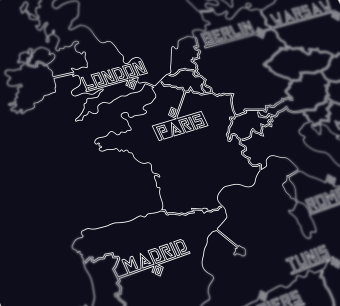 Close view of Western Europe on the One World Map