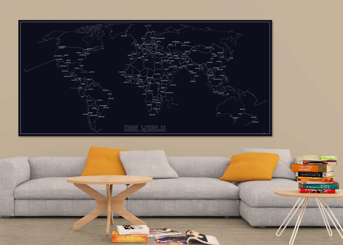 Sample setting of the One World Map hanging on a wall